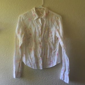 Abercrombie & Fitch white flower top